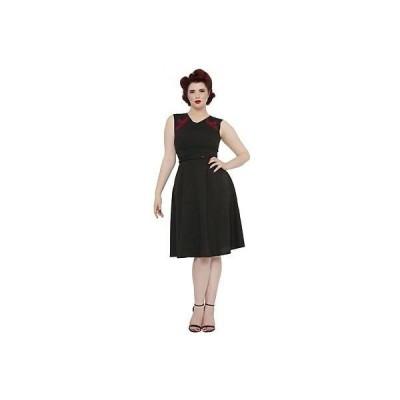 ドレス・ワンピース ヴードゥーヴィクセン Voodoo Vixen Heather Embroidery Basic Flare ドレス ブラック ビンテージ Rockabilly