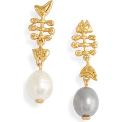 トリー バーチ TORY BURCH レディース イヤリング・ピアス ドロップピアス Mismatched Fish Pearl Drop Earrings Rolled Brass/Ivory Pearl