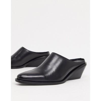 エイソス レディース オックスフォード シューズ ASOS DESIGN Mila leather western mules in black Black leather
