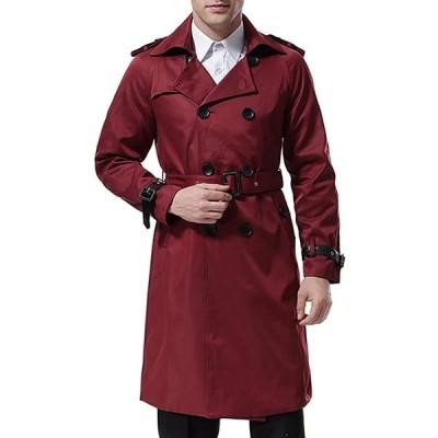 AOWOFS トレンチコート メンズ ダブルボタン ロングコート ベルト付き スリム ビジネス アウター 春秋 冬
