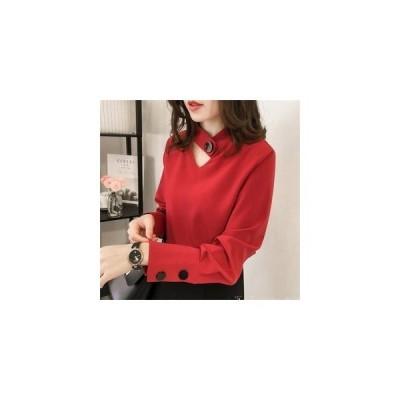 ブラウス 長袖 春 レディース シャツ トップス Tブラウス シフォンシャツ きれいめ 大きいサイズ 30代 40代 きれいめ オシャレ