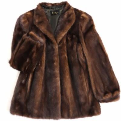 毛並み極美品▼MINK ミンク 裏地花柄刺繍入り 本毛皮コート ブラウン 毛質艶やか・柔らか◎