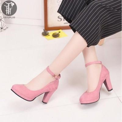 OL靴 スエード パンプス ハイヒール レディース シューズ 痛くない 脱げない 婦人靴 無地 レディースシューズ 9cm ストラップパンプス