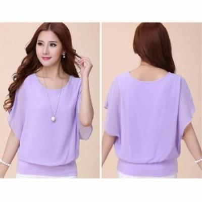 shirt050-purple-s_528133 ブラウス レディース 半袖 シフォンシフォンティアードスリーブバルーンプルオーバー パープル/S (shirt050pur