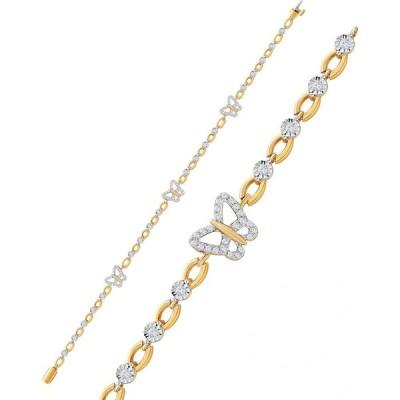 メイシーズ Macy's ユニセックス ブレスレット Diamond Butterfly Open Link Bracelet (1/2 ct. t.w.) in Sterling Silver & 14k Gold-Plate