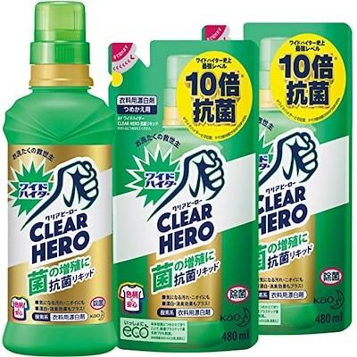 まとめ買いワイドハイター クリアヒーロー(CLEARHERO)抗菌リキッド本体600ml+詰め替え4