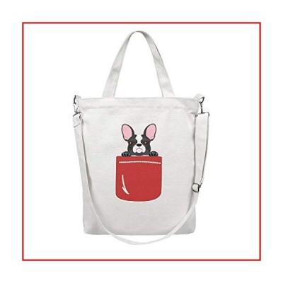 HULOSHIKDL Bulldog Pocket-2 Practical Canvas Multifunctional Reusable Single Shoulder Tote Bag【並行輸入品】