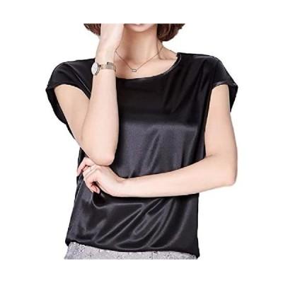 [ルビタス] サテン シャツ トップス シルク 風 半袖 無地 シンプル 光沢 ツルツル 1分袖 スリーブ (ブラック XL)
