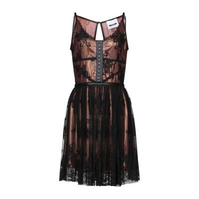 DIMORA ミニワンピース&ドレス ブラック 42 ナイロン 100% / 革 ミニワンピース&ドレス