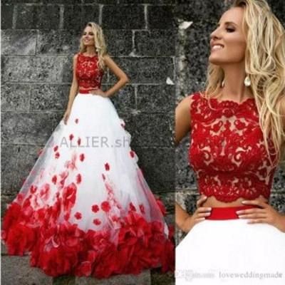 サイズオーダー可 ウェディングドレス NEW ライン 花のチュールパーティーイブニングドレスウエディングドレスカクテル