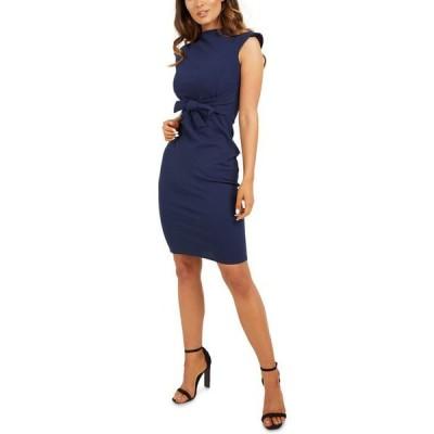 クイズ レディース ワンピース トップス Tie-Front Bodycon Dress