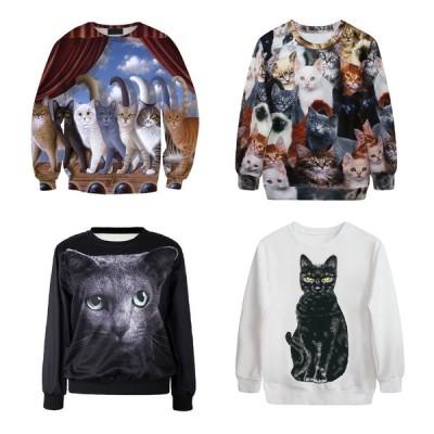 レディース 猫 ネコ 幾何学 エッジ デジタル プリント トレーナー メンズ ユニセックス 長袖 ロンT Tシャツ wigggy-00040