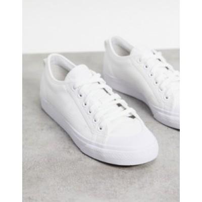 アディダス レディース スニーカー シューズ adidas Originals Nizza Trefoil sneakers in triple white White