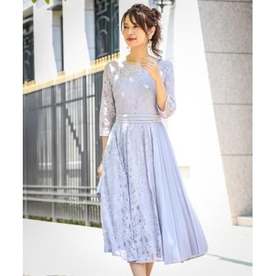 【結婚式。お呼ばれ。二次会】アシンメトリープリーツ使い総レースワンピースドレス<大きいサイズ有> ,スマイルランド, 【謝恩会・パーティドレス】Dress