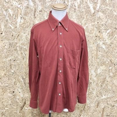 Golden Bear ゴールデンベア L メンズ 鹿の子シャツ カットソーシャツ ボタンダウン 胸ポケット付き 首元ダブルボタン 長袖 綿100% 赤茶系