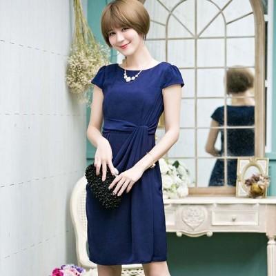 膝丈ドレス 予約 OL通勤大人上品ワンピース紺ピンクS-3L YJ-88001   送料無料