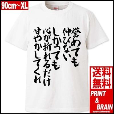 おもしろTシャツ 文字 誉めても伸びない 漢字 日本語 90cm〜XL ホワイト ユナイテッドアスレ5.6oz プリント&ブレイン PABT-WH-00097