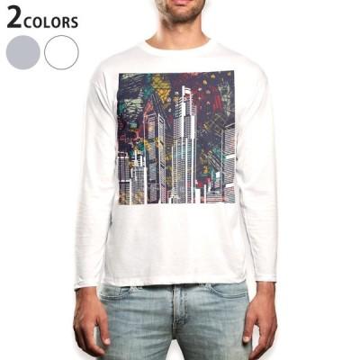 ロングTシャツ メンズ 長袖 ホワイト グレー XS S M L XL 2XL Tシャツ ティーシャツ T shirt long sleeve  風景 景色 イラスト 010394