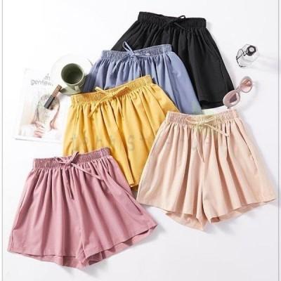 ショートパンツ レディース キュロットスカート シフォンパンツ 短パン ゆったり ショーパン ウエストゴム キュロット 夏 ワイドパンツ