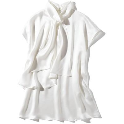 シルクサテン レイヤード風 ボウブラウス オフホワイト 15