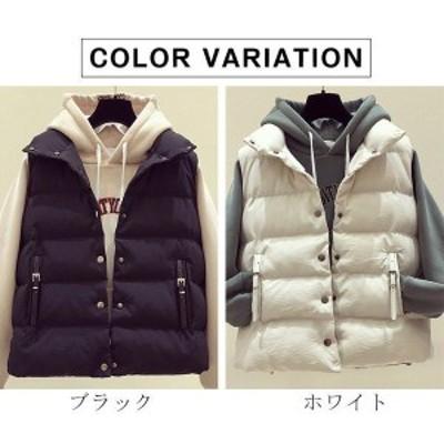 中綿ベスト レディース トップス ベスト 厚手 袖なし ゆったり 人気 ファション 暖かい 秋 冬