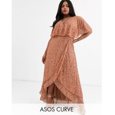 エイソス ドレス 大きいサイズ レディース ASOS DESIGN Curve maxi dress with cape back and dip hem in scatter sequin エイソス ASOS