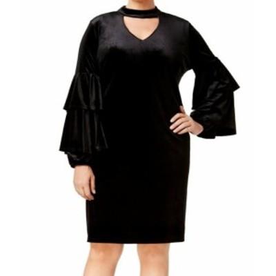 ファッション ドレス NY Collection NEW Black Womens Size 1X Plus Velvet Tiered Sheath Dress