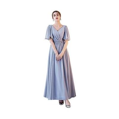 グレードレス ロングドレス スレンダーライン 6タイプ パーティードレス ワンピース ブライズメイド ロングドレス 結婚式 (グレーF L)