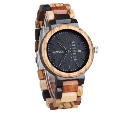 腕時計 メンズ BEWELL 男性 カラフル ウッド腕時計 多機能 ウィーク 日付 クォーツ ミックス 軽量