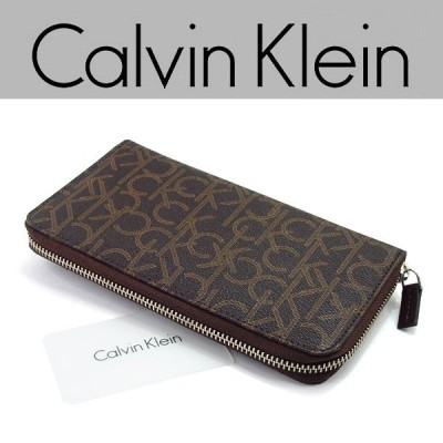 Calvin Klein カルバンクライン メンズ レディース 長財布 ラウンドファスナー レザー ウォレット ブラウン ブランドロゴ柄 79468-CHO