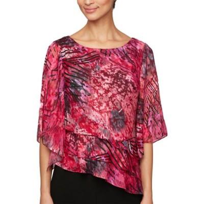 レディース 衣類 トップス Alex Evenings Womens Abstract Print Asymmetrical Blouse ブラウス&シャツ