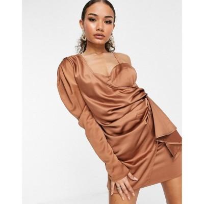 アイソウイットファースト I Saw It First レディース ワンピース ラップドレス ワンピース・ドレス Satin One Shoulder Wrap Dress In Orange オレンジ