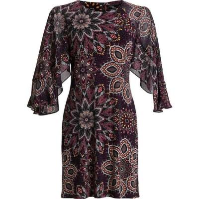 コネクテッド Connected レディース ワンピース ワンピース・ドレス Petite Chiffon Printed Fit & Flare Dress Black