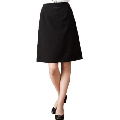 吸い込まれるような深色ブラックAラインチェックスカート 事務服 オフィス 通勤 ブラックフォーマル ひざ丈 きれいめ