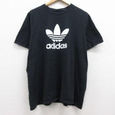 古着 半袖 ブランド Tシャツ アディダス adidas ビッグロゴ リーフ トレフォイル 大きいサイズ コットン クルーネック 黒 ブラック XLサ