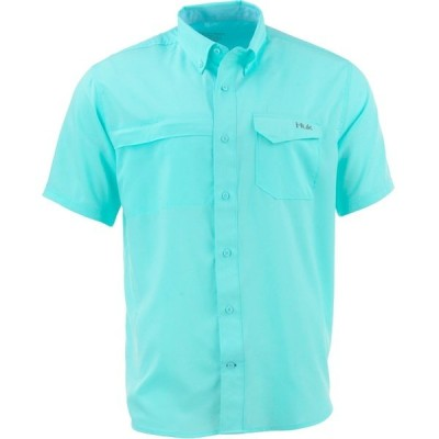 フック シャツ トップス メンズ Huk Men's Tide Point Woven Solid Button-Down Shirt Turquoise