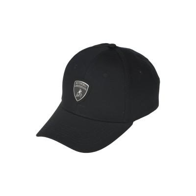 AUTOMOBILI LAMBORGHINI 帽子 ブラック one size コットン 100% 帽子