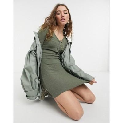 トップショップ レディース ワンピース トップス Topshop cardigan body-conscious mini dress in khaki