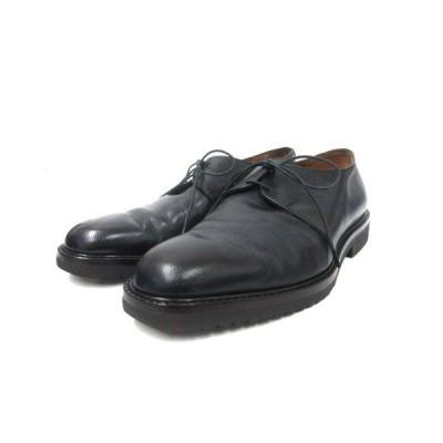 【中古】サルヴァトーレフェラガモ ビジネスシューズ 革靴 外羽根 プレーントゥ レースアップ レザー 6 1/2 黒 ブラック 靴 IBO3 メンズ 【ベクトル 古着】