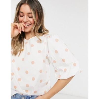 エバニュー レディース カットソー トップス Ever New oversized sleeve cotton top in ecru polka dot Ecru