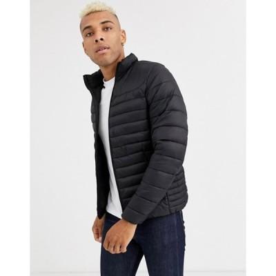 プルアンドベアー メンズ コート アウター Pull&Bear Join Life light puffer jacket in black