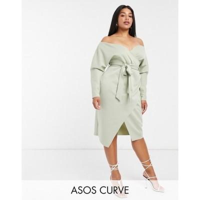 エイソス レディース ワンピース トップス ASOS DESIGN Curve bardot wrap batwing sleeve midi dress with self tie belt in sage