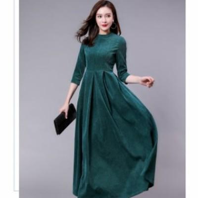 ドレス シフォンドレス ロングワンピース ロングワンピ 大きいサイズ コーディロイ Aライン 無地 ロング丈 ワンピ レディース