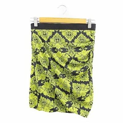 【中古】スタニングルアー STUNNING LURE スカート ミニ シャーリング 総柄 38 黄色 イエロー /AAM2 レディース