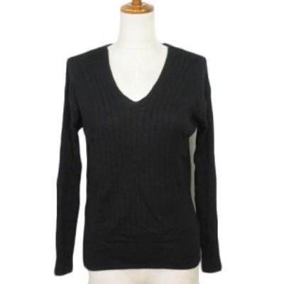 【中古】ロートレアモン LAUTREAMONT セーター リブニット Vネック ウール 2 黒 ブラック レディース