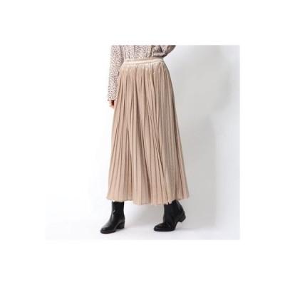 スタイルブロック STYLEBLOCK ベロアプリーツスカート (ライトベージュ)
