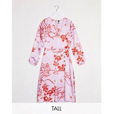 インフルエンス Influence Tall レディース ワンピース ミドル丈 ワンピース・ドレス Button Front Midi Dress In Pink Floral ピンク/レッド