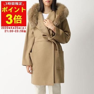 MAXMARA STUDIO マックスマーラ BREAK ブレイク カシミヤ コート フォックスファー ベルテッドコート 014/キャメルベージュ レディース