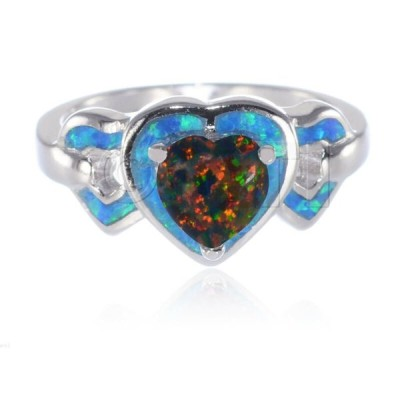 ファインジュエリー シルバー 指輪 Three Heart Black Fire Opal Inlay Blue Fire Opal Genuine Sterling Silver Ring