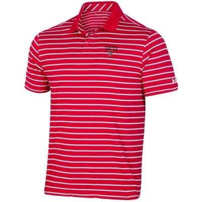 アンダーアーマー ポロシャツ トップス メンズ Under Armour Men's Texas Tech University Performance Stripe Polo Shirt Red